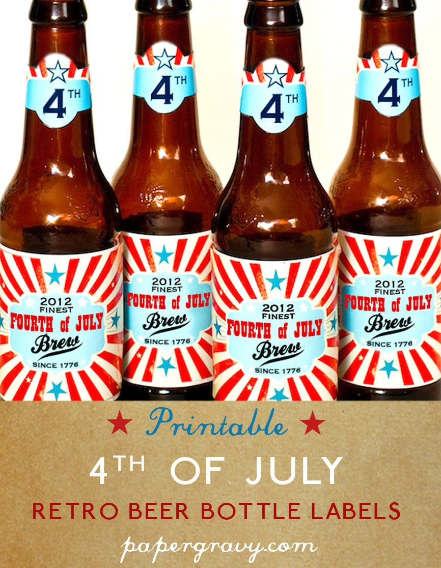 Printable Usa Beer Bottle Labels 4th Of July Decorations Repin By Pinterest For Ipad Fourth Of July 4th Of July Happy Fourth Of July