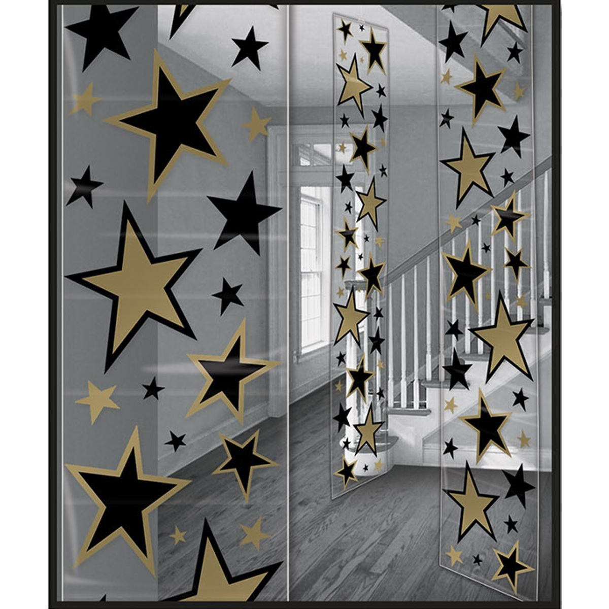 Gold Black Star Decoration Panels Black And Gold Party