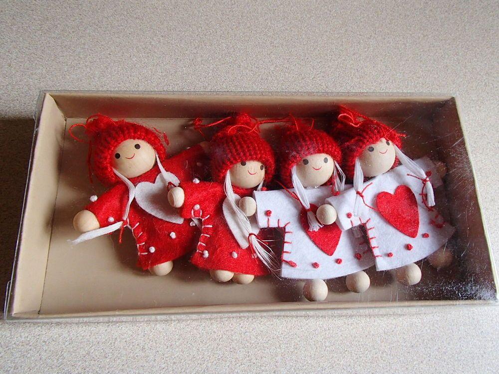Scandinavian Nordic Christmas Ornaments 4 Girls in Felt