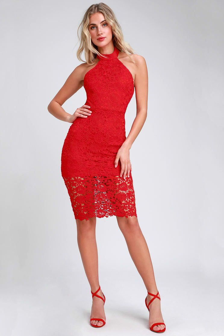 78a829344681 Strut and Stun Red Lace Halter Midi Dress | what to wear? | Dresses ...