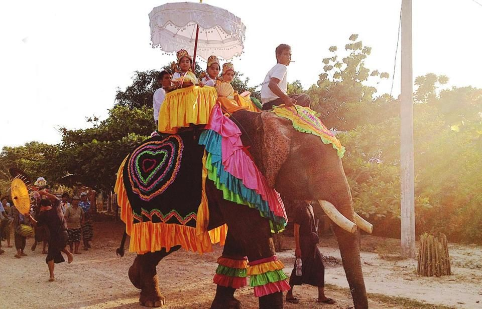In the remote region of Hpa An, a ceremony welcoming girls into the Buddhist nunhood in Hpa An included an elephant.