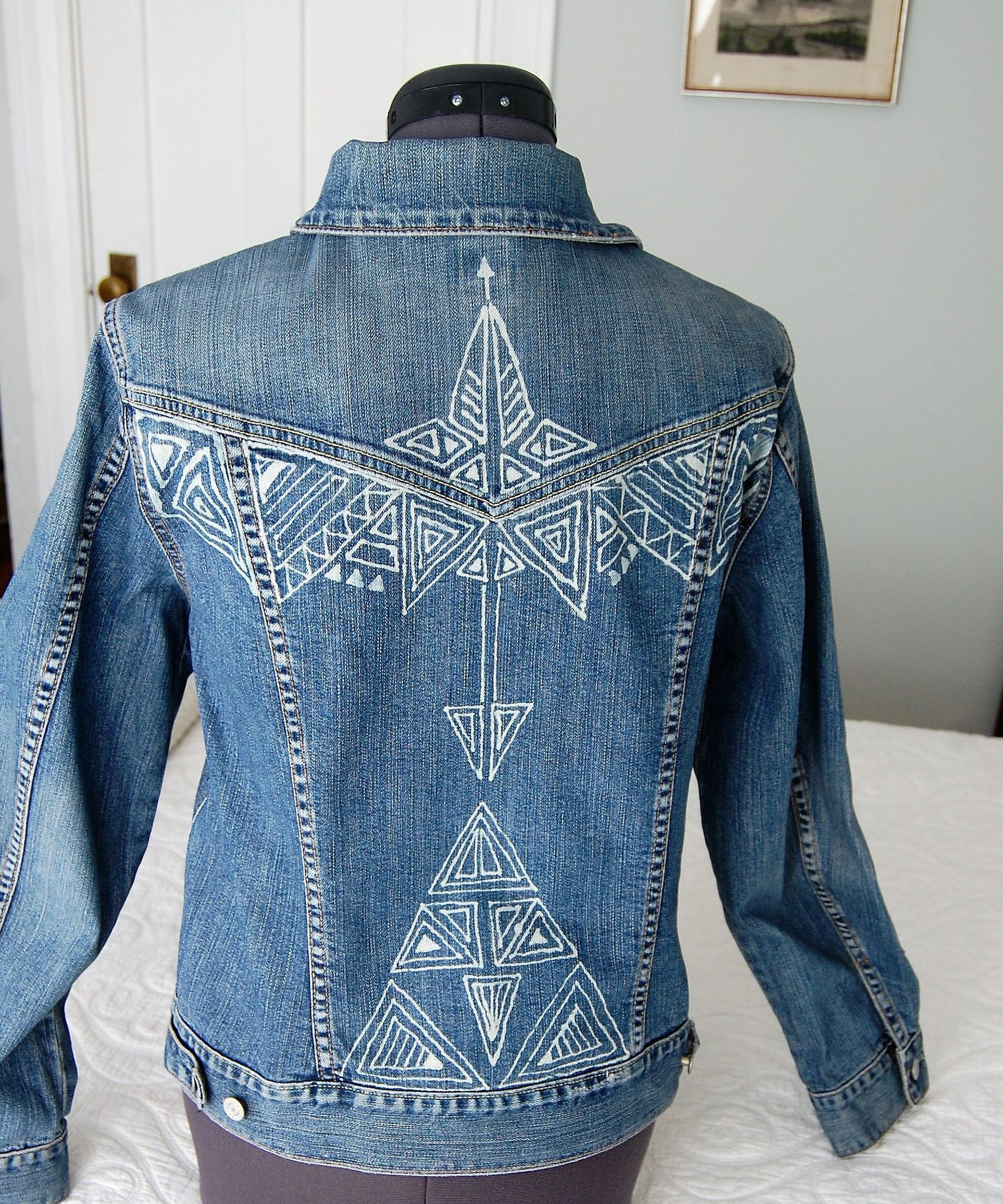 Bleach painted jean jacket medium by bcycles on etsy with