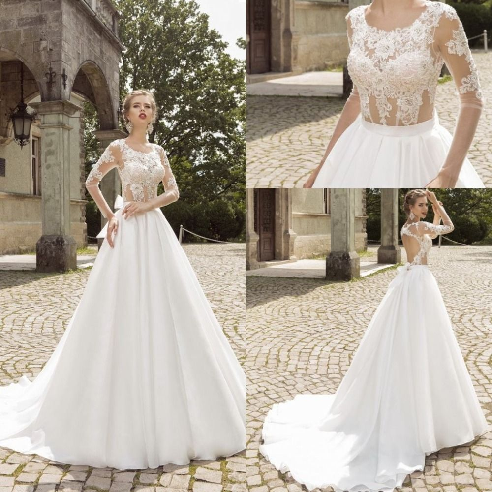 Aliexpress.com : Buy See Through Lace Corset Wedding Dresses Long ...