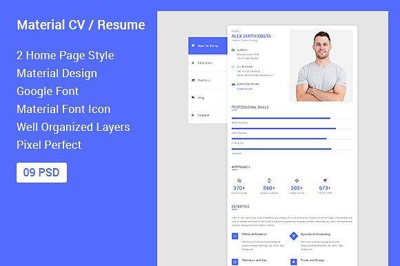 Material Cv Resume Health App Design Create Business Cards Corporate Flyer