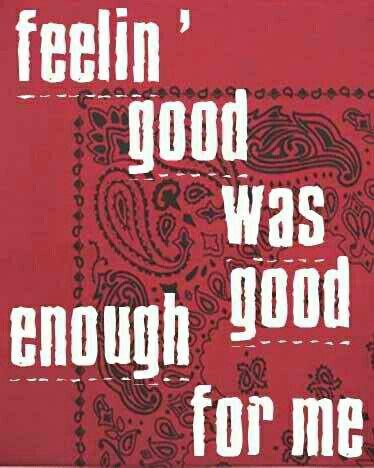 feelin good was good enough for me