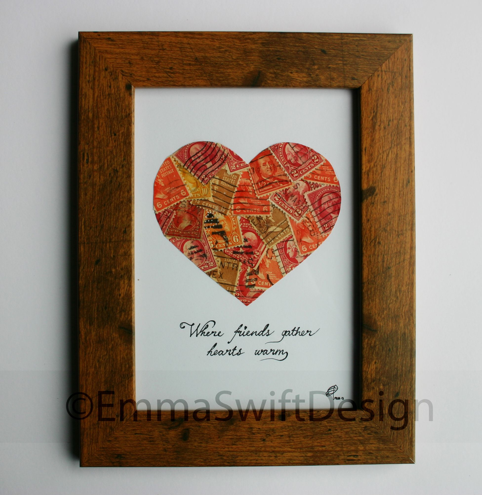 Handmade recycled postage stamp collage