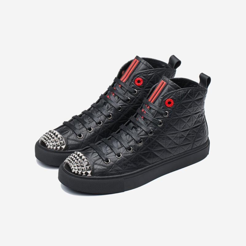 أحذية ذات رقبة عالية أسود All Black Sneakers High Top Shoes Top Shoes