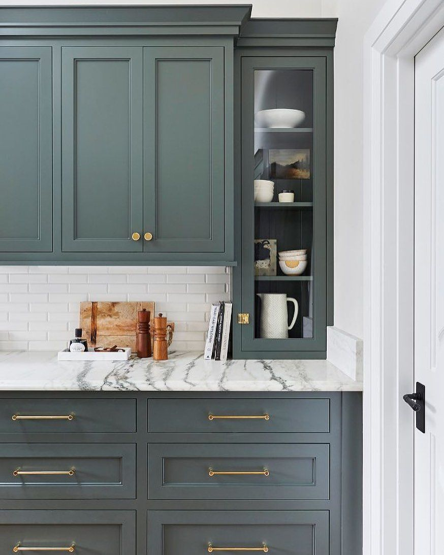 Marinamedinadesign Posted On Instagram Forever Obsessed With Green Millwork And This Gorgeous In 2020 Green Kitchen Cabinets Kitchen Color Trends Kitchen Renovation