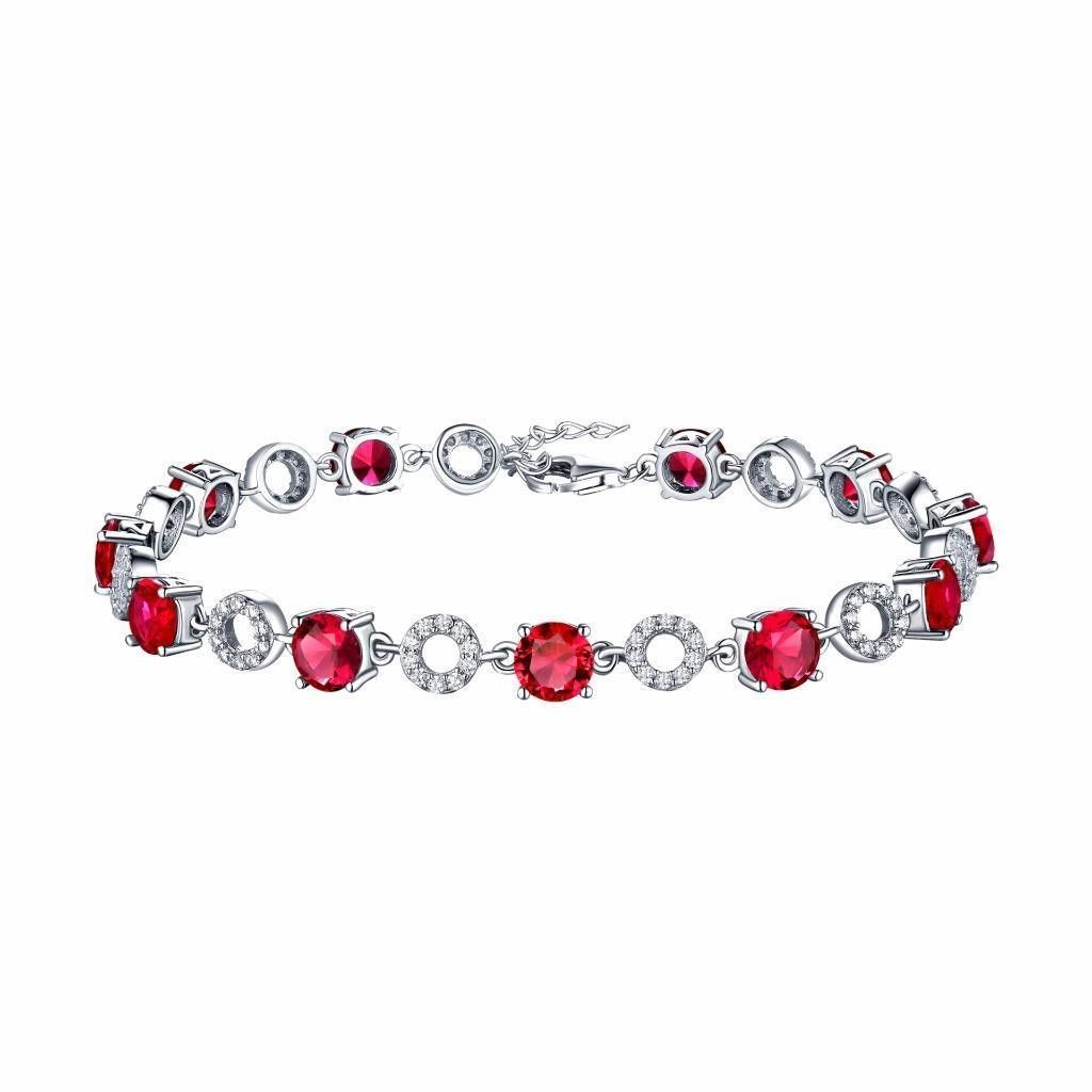 Ruby solitaire white gold over sterling silver bracelet