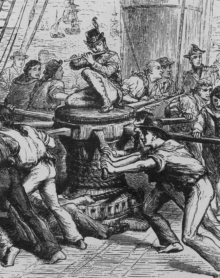 Sailors performing a capstan shanty. The capstan weighs and lowers the  anchor. | Folk music, Folk, Ancient mariner