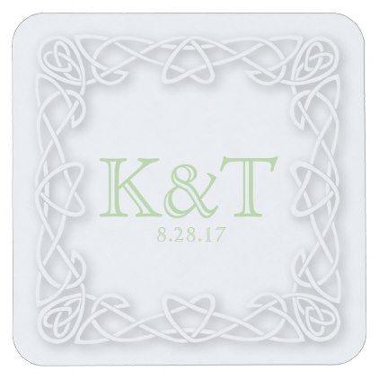 #initial - #Celtic Knot Initials - Custom Coaters Square Paper Coaster