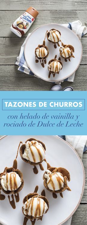 Photo of Bowls of Churros with Vanilla Ice Cream and Dulce de Leche