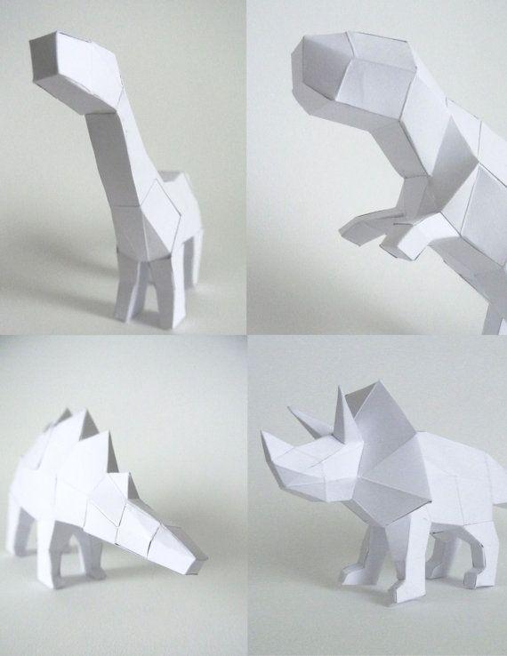 Bien-aimé Sculpture de dinosaure en papier à monter | Dinosaures, Origami et  AB47