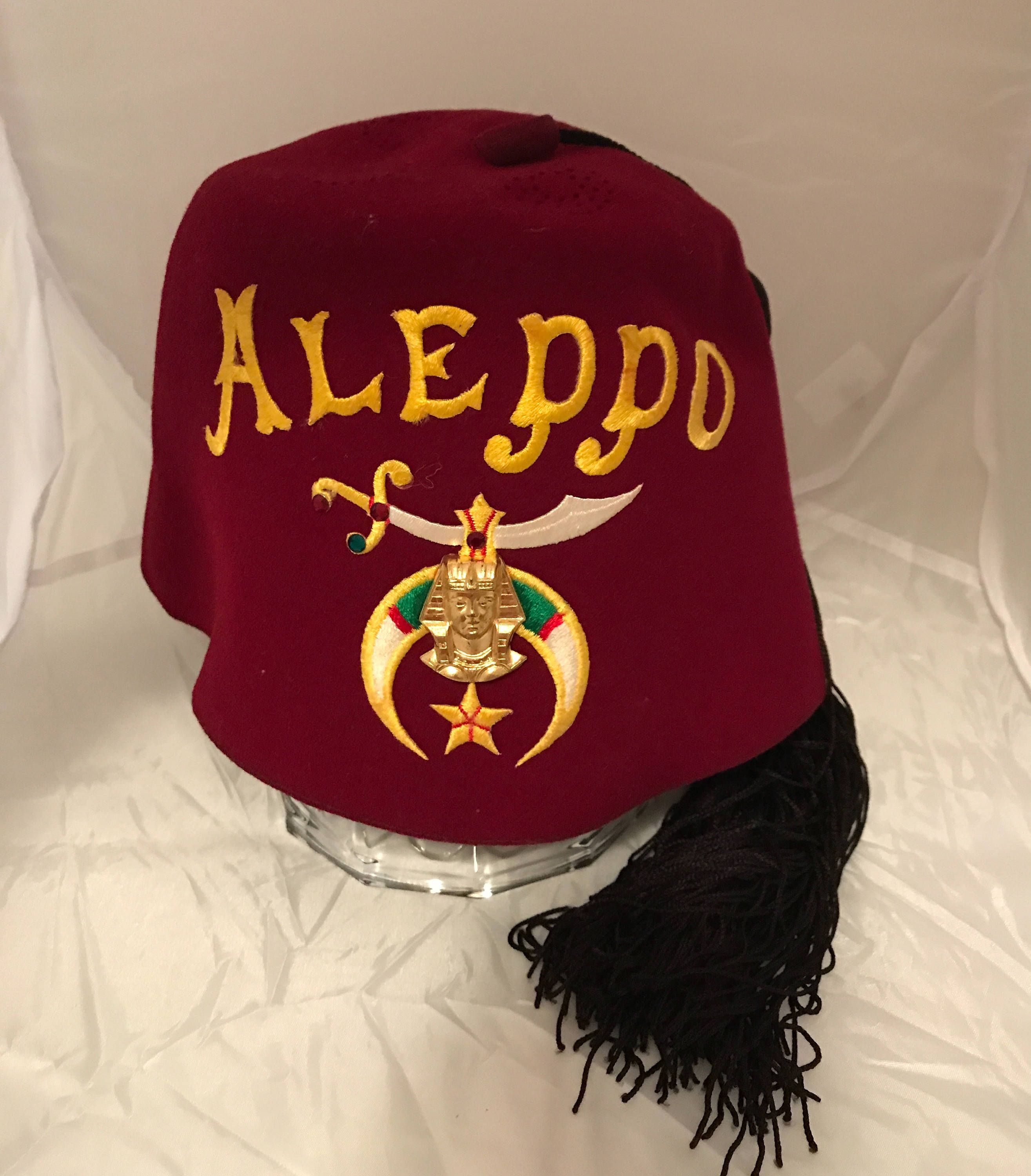 f84067df0 Shriners Fez Aleppo Masonic Red Embroidered Hat, Vintage, Pharaoh ...