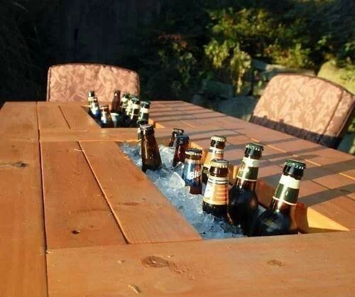 table with built-in drink cooler