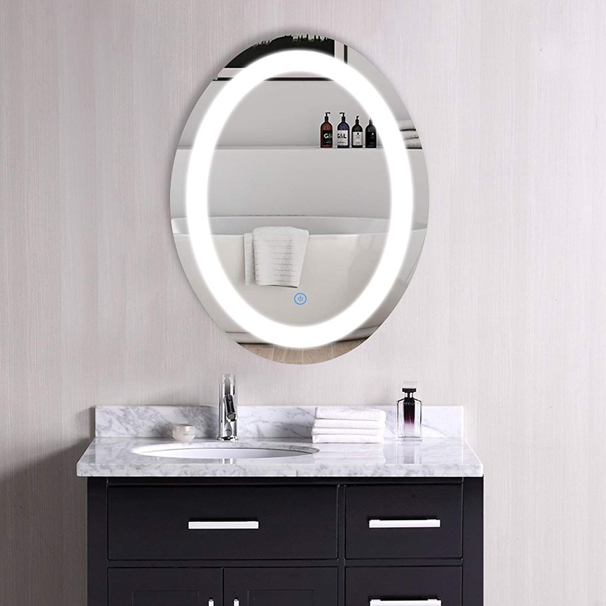 Co Z Dimmable Oval Led Lighted Bathroom Mirror Modern Wall Mirror
