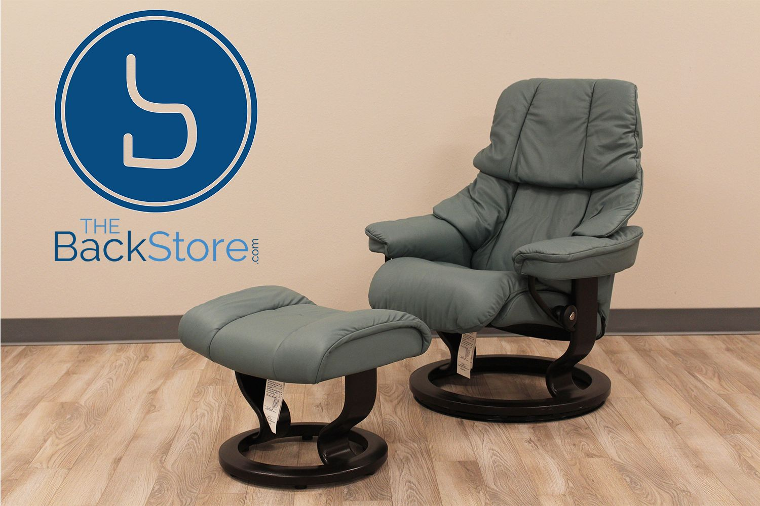 Stressless consul small chair and stool in batick leather - Stressless Tampa Small Reno Paloma Aquagreen Leather Recliner Chair And Ottoman By Ekornes Stressless Tampa Small Reno Paloma Aquagreen Leather Chairs