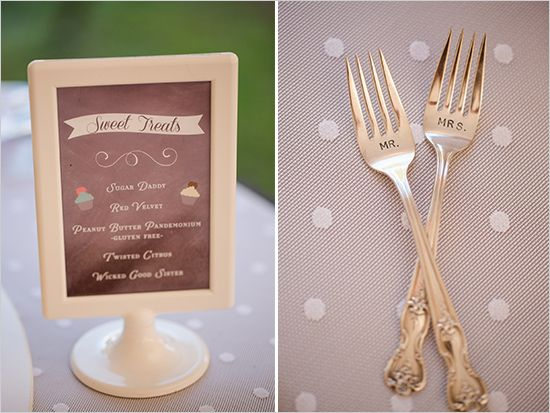 dessert menu and mr and mrs forks