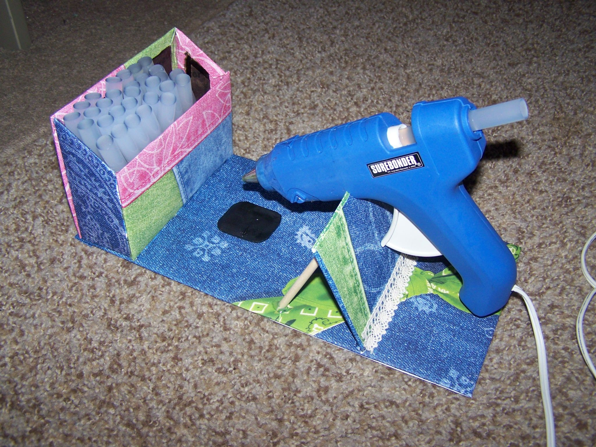 My Diy Hot Glue Gun Holder Made From Cardboard Scrapbook