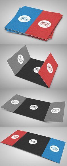 Free 3 Fold Square Brochure Mock-up PSD Template leaflet - gate fold brochure mockup