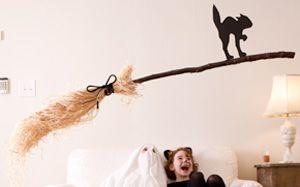 DIY Halloween Decorations: Floating Broom #Hallmark #HallmarkIdeas