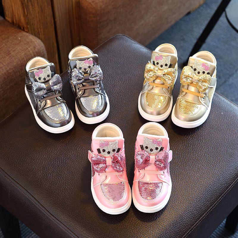 0aff06f82 Детские Ботинки Осень/Весенняя Мода Обувь Для Девочек Блестками обувь С Лук  Дети Ребенок Кроссовки Высокого Помощь Повседневная обувь