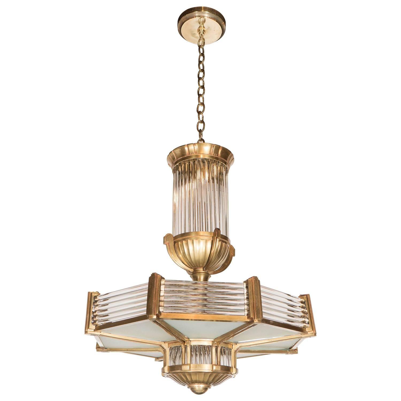 Art deco chandelier by petitot in cast bronze and glass
