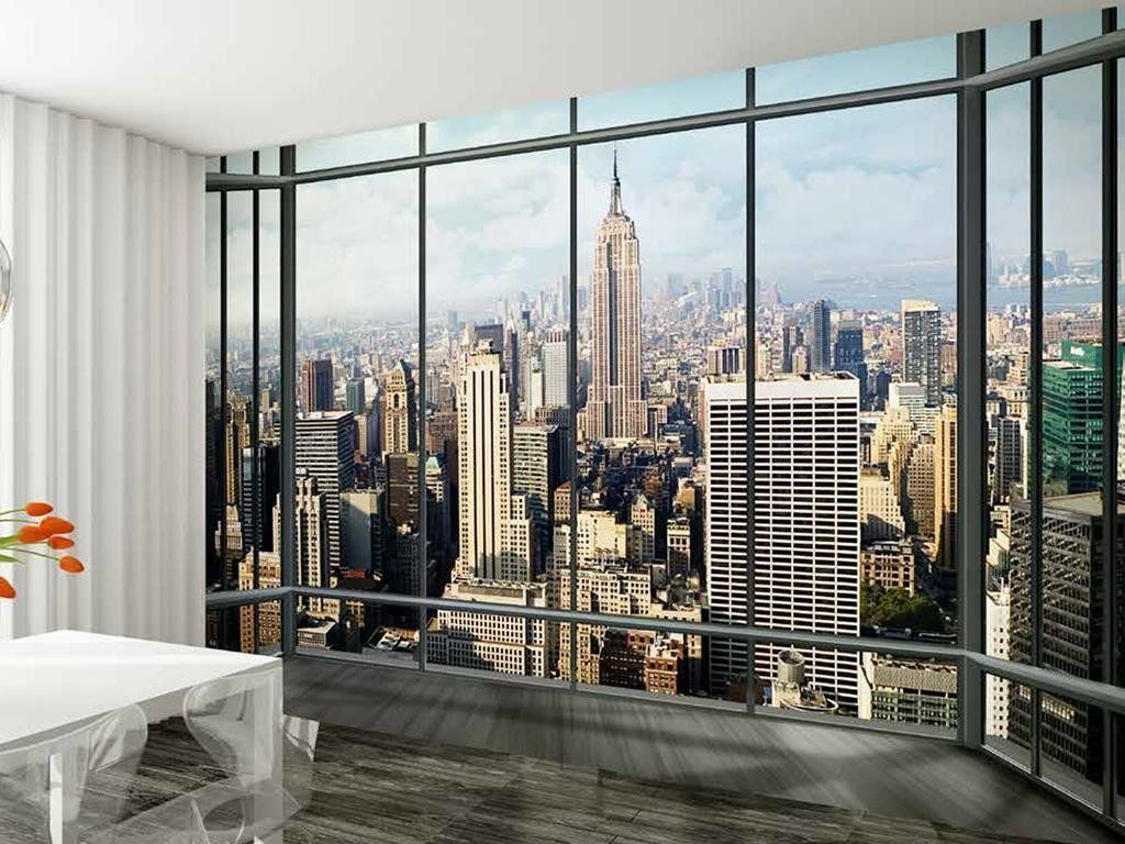 1Wall New York Skyline Window View Wallpaper Photo Wall Mural ...