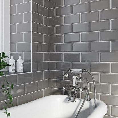 British Ceramic Tile Metro bevel grey gloss tile 100mm x 200mm ...