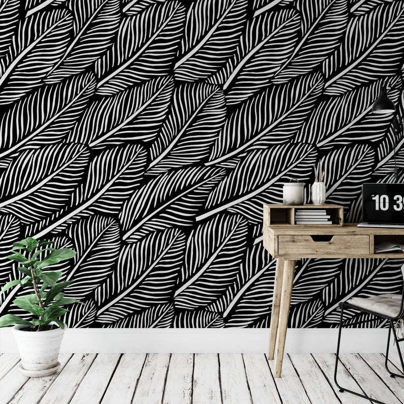 Minimalist Removable Wallpaper Abstract Leaves Wallpaper Etsy Removable Wallpaper Leaf Wallpaper Modern Wallpaper