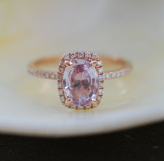round ring on diamond shop peach champagne rose engagement wanelo sapphire gold rings lavender
