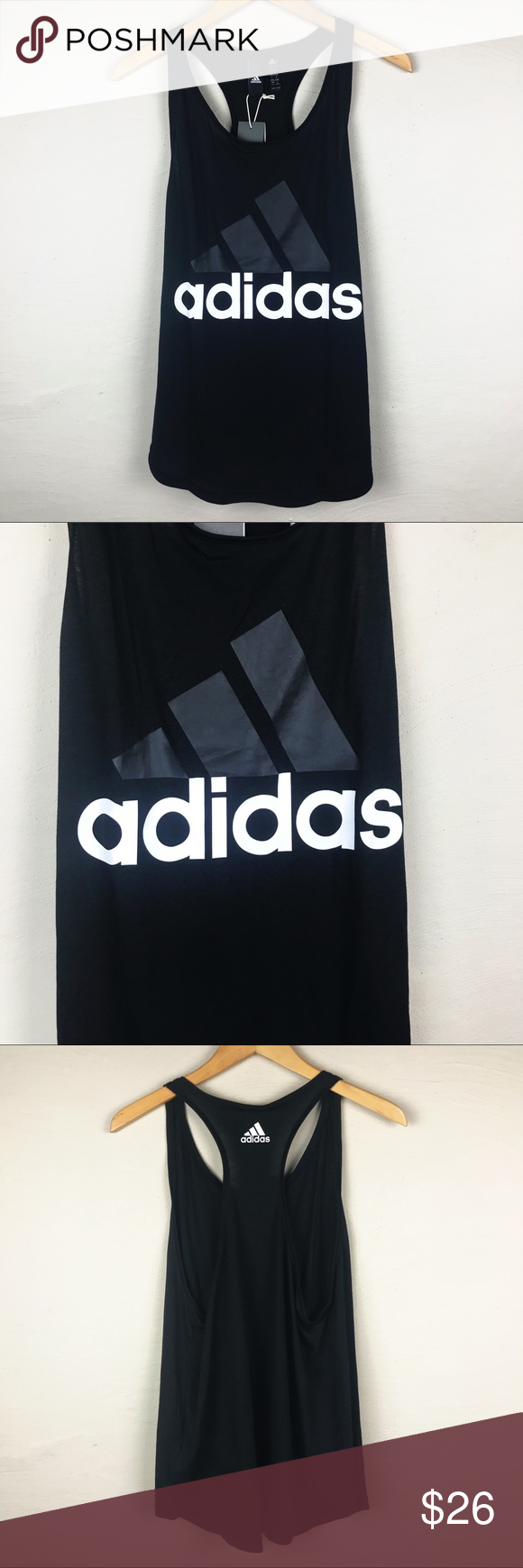 4e3cb49210c NWT ADIDAS Black racerback tank Large New with tags