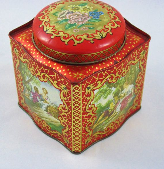English Tea Tin From Daher Red Tin With Gold Made In England