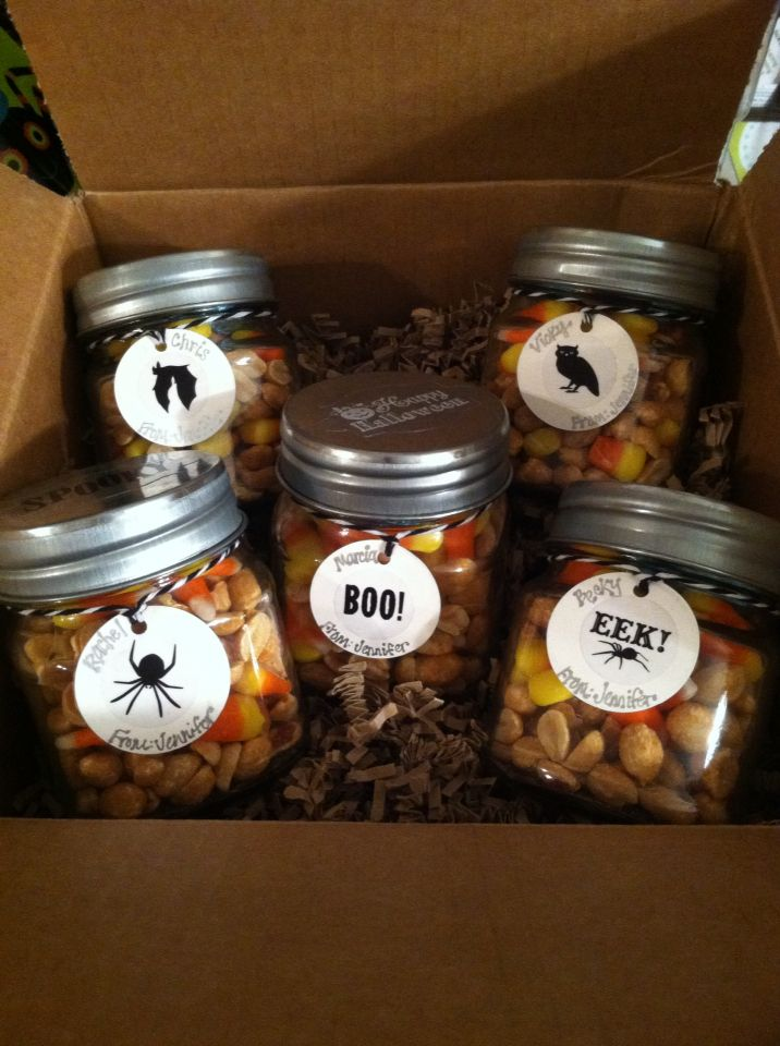 Gifts for co-workers for Halloween! $1 jars  labels from Target - halloween office ideas