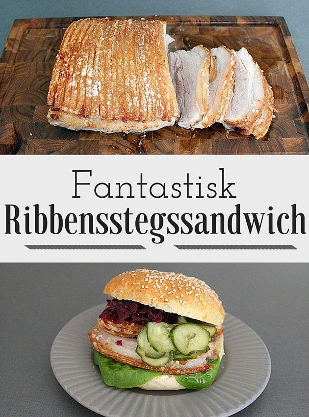 Helt fantastisk ribbensstegssandwich med agurkesalat og rødkål. Og så er det ekstra lækkert, når man lige får en bid af den sprøde svær med.
