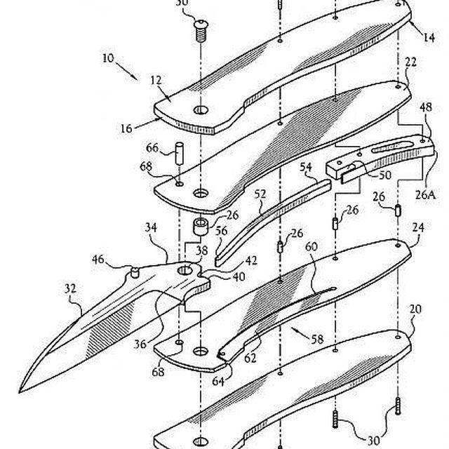 brevet us20130000129 locking mechanism for a folding knife