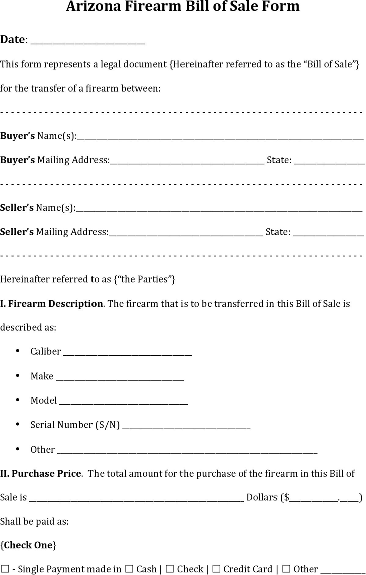 Arizona Firearm Bill Of Sale Download The Free Printable Basic Bill Of Sale Blank Form Template In Microsoft Word To Be U Bill Of Sale Template Bills Templates