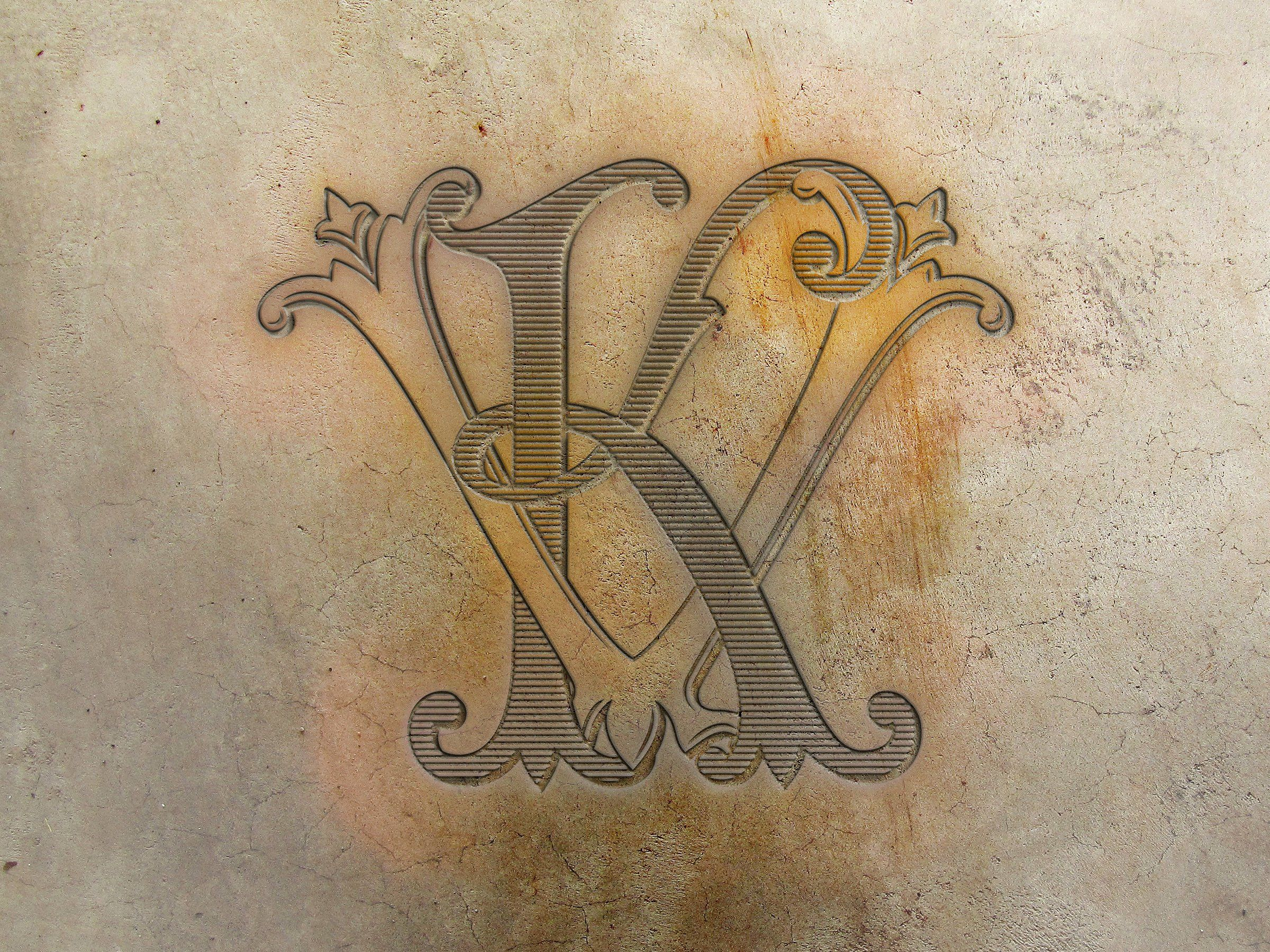 Kv Monogram Vk Monogram Name Tattoo Designs Monogram Tattoo Lettering