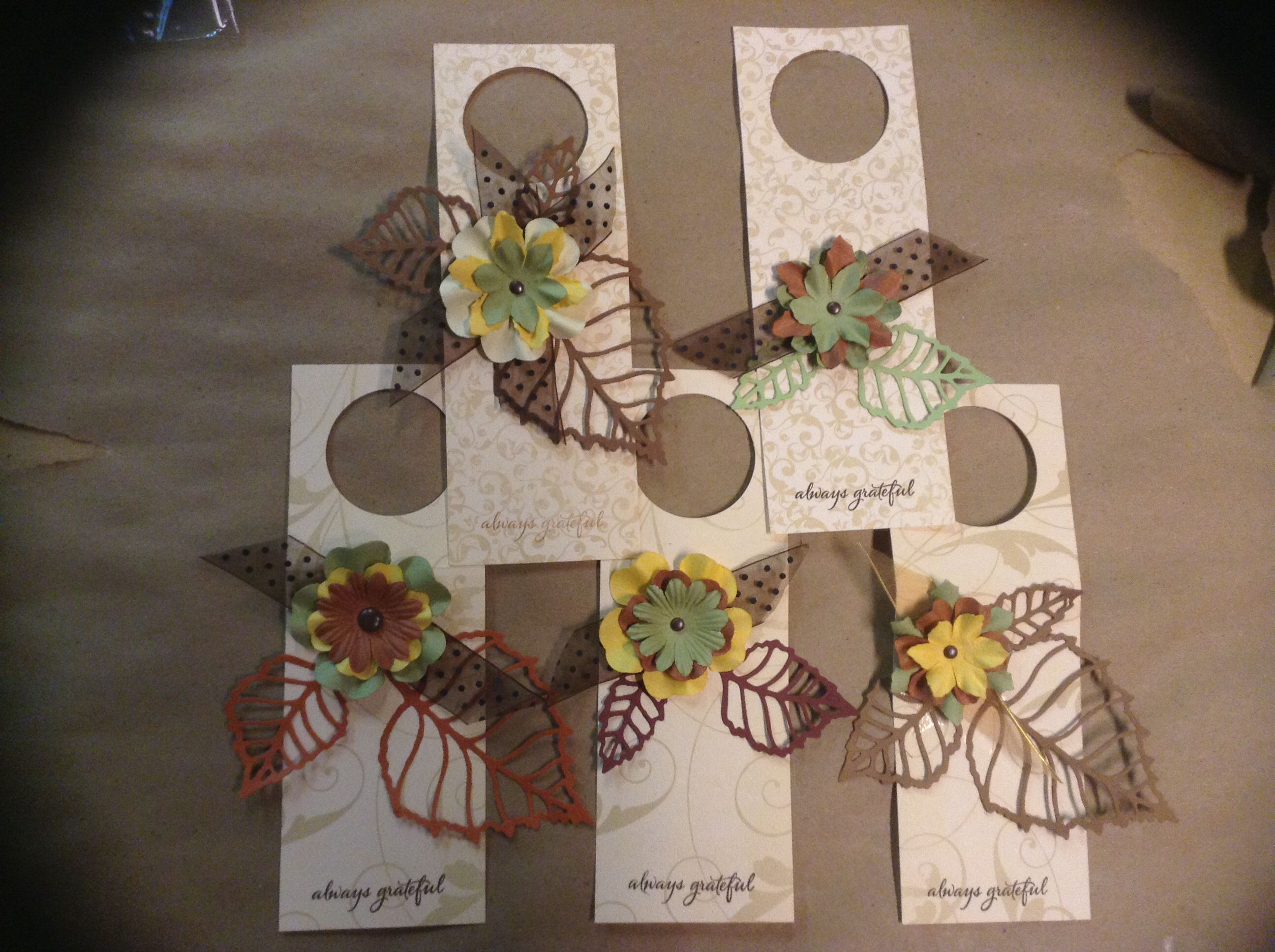 Wine bottle gift tags for fall or Thanksgiving holidays.