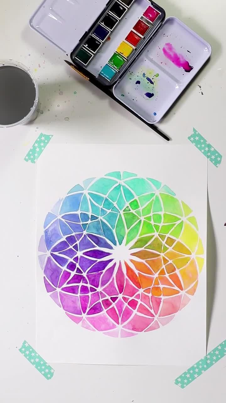 Photo of Beautiful Watercolor Mandala, Free Template!