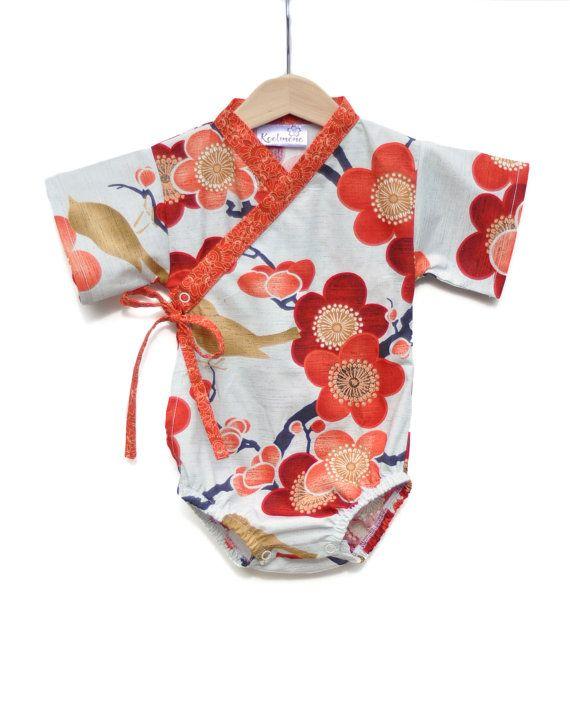 Baby Kimono One Piece In Autumn Sakura Sizes 0 Through 24 Months