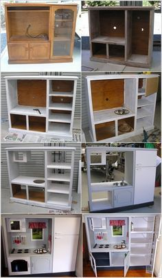 turn an old tv cabinet into a play kitchen for your daughter ideas