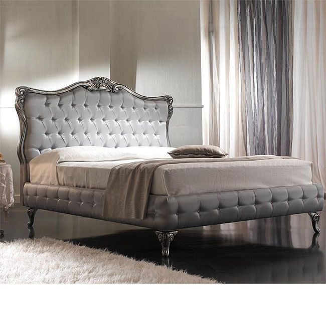 French Style Silver Tufted Bed Silver Velvet Bed Linens Luxury