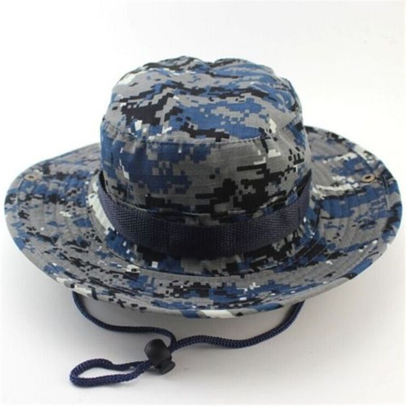 c4e0ef729231c 19 Colors Summer Men Military Camo Bucket Hat with Strings Camping Hiking  Travel Sniper Wide Brim Boonie Hat Item Type  Bucket HatsPattern Type  ...