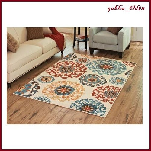 New Beige Blue Turquoise Orange Red Medallion Area Rug Living Room Chic 5 X 7 In Home Garden Rugs Carpets Ebay