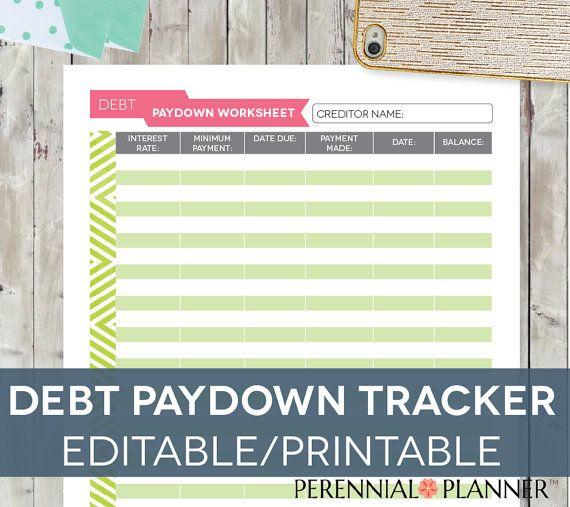 Debt Tracker Worksheet, Editable Printable INSTANT DOWNLOAD Letter