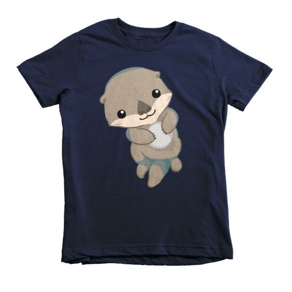 This is the kids' version of American Apparel's most popular adult t-shirt. It features durable ribbed neckband and a double-needle bottom hem and sleeves. It features a cute otter pup on its back wit