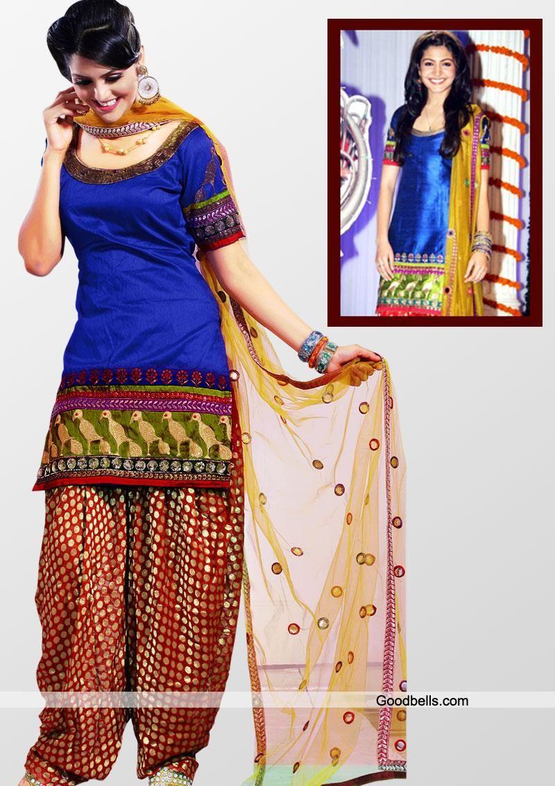Salwar Kameez:R31P178 | Anushka Sharma's Blue Patiala Suit ...