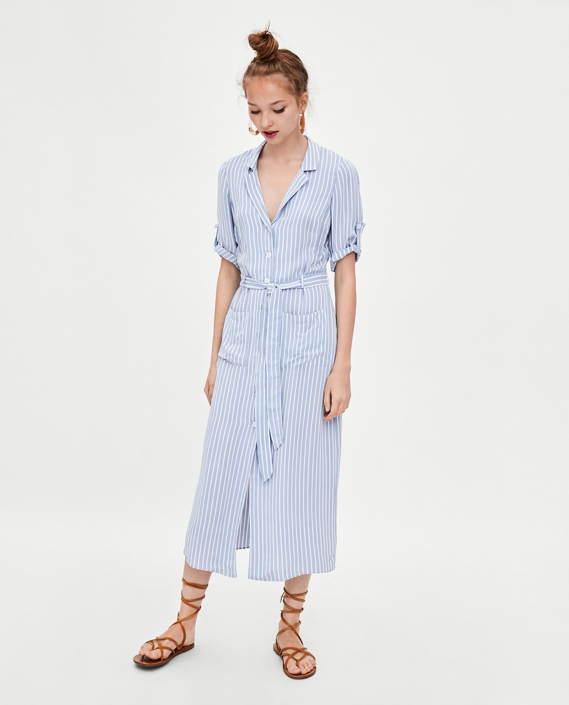 choose original low cost size 40 Image 1 of STRIPED SHIRT DRESS from Zara | Seasonal: Summer ...