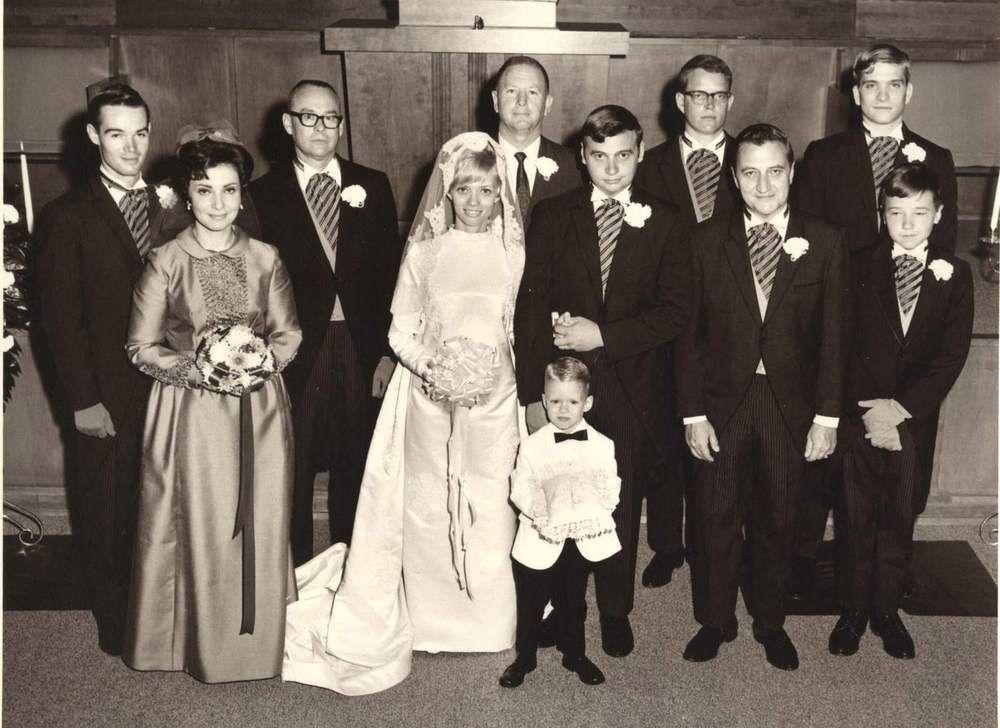 Vintage Wedding Photo Bridal Party 1960s Era